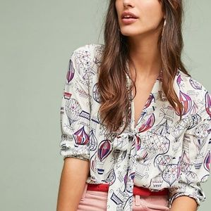 Anthropologie Colloquial Neck-Tie Blouse in White